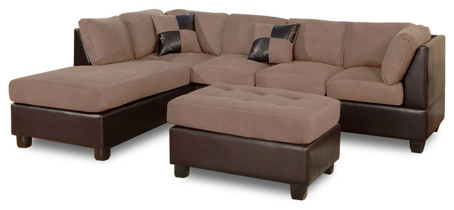 3 Piece Modern Microfiber Faux Leather Sectional Sofa With Chaise, Hazelnut
