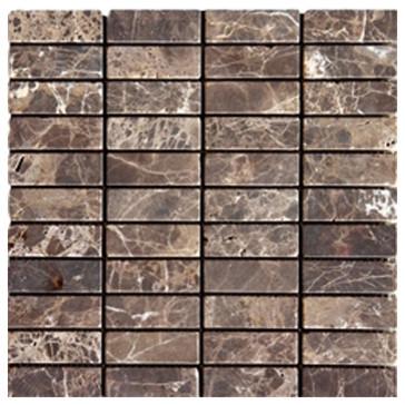 Dark Emperador Tumbled Bricks Pattern Mesh Mounted Marble Tiles Modern Mosaic Tile