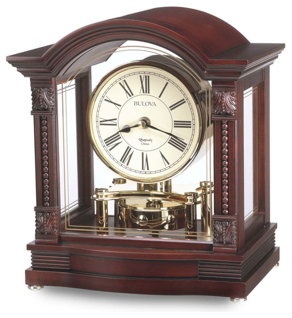 Bardwell Mantel Clock By Bulova Rotating Pendulum Wood