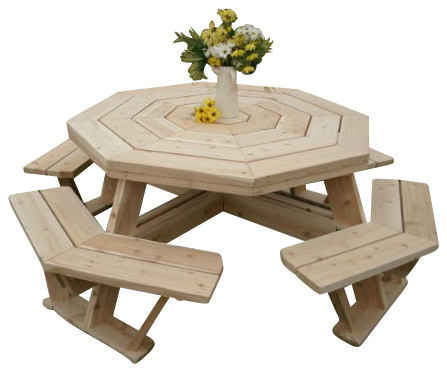 Furniture Barn USA Rustic White Cedar Log Octagon Picnic Table With Attached