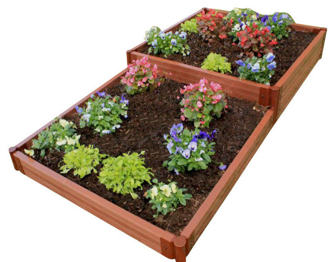 Tool Free Classic Sienna Raised Garden Bed Terraced 4 X8 X11 2 Profile Traditional Outdoor Pots And Planters By Frame It All Tm
