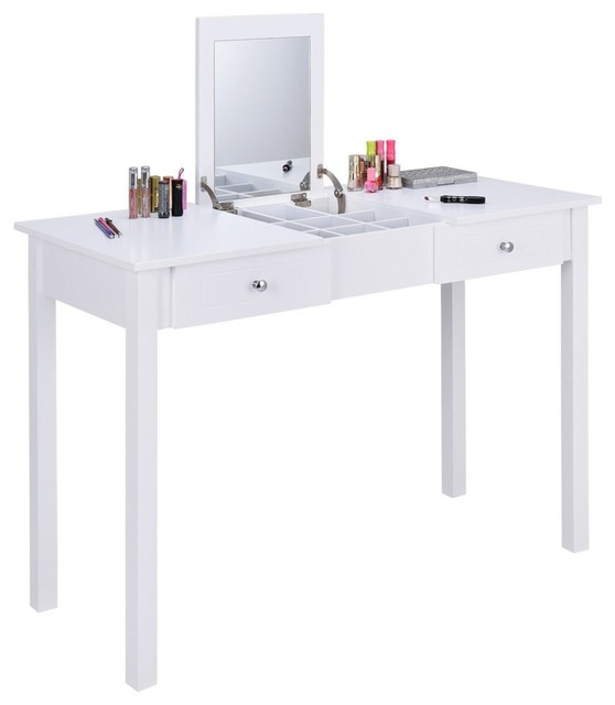 . Modern Vanity Table  Flip Top Mirror  2 Drawer and Removable Organizer
