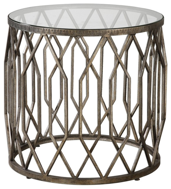 Open Silver Fretwork Drum Accent Table Round End Cage Tribal