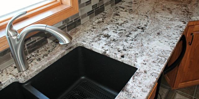 White Torroncino Granite Kitchen with Lexicon Morgan Sink