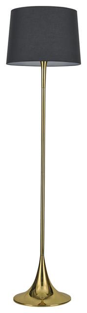 Ideal Lux London Floor Lamp, Brass