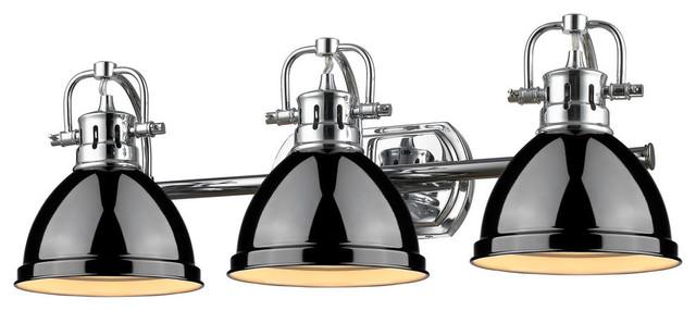 Duncan 3-Light Bath Vanity, Chrome With Black Shade