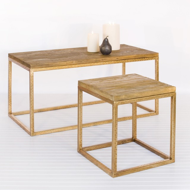 Worlds Away Wood Top And Gold Leaf Coffee Table