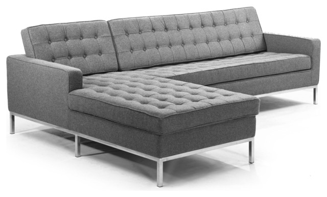 Midcentury Florence Sectional Cadet Gray Material Wool Left
