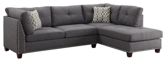 Acme Laurissa L Shape Sectional Sofa With Ottoman In Charcoal Linen.