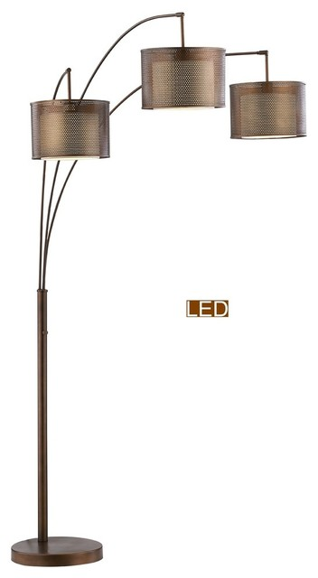 """Artiva USA Lumiere II 83"""" LED Arched Floor Lamp With Dimmer, Antique Bronze"""