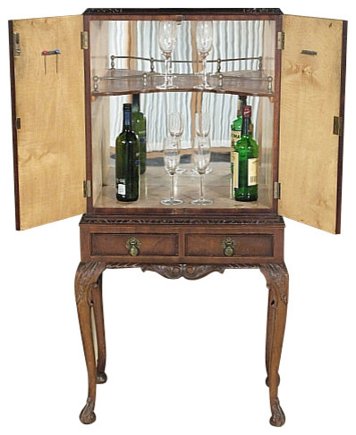 Consigned Vintage English Mahogany Cocktail Liquor Cabinet Bar - Traditional - Wine And Bar ...