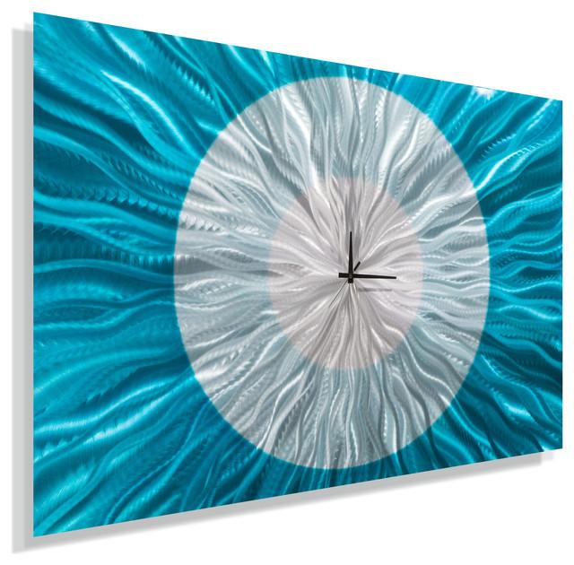 Aqua Blue And Silver Metal Wall Clock Modern Home Decor