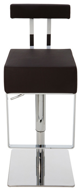 Aria Adjustable Leather Barstool, Brown Modern Bar Stools And Counter