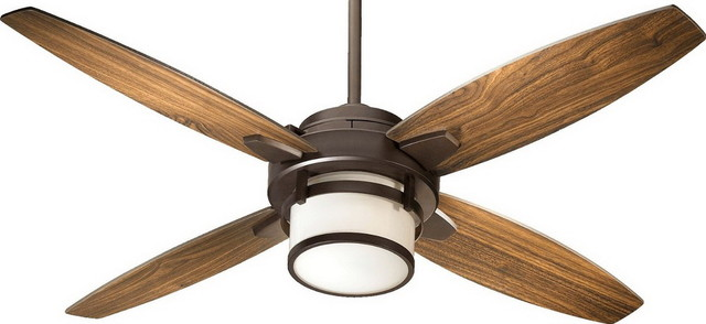 "Oiled Bronze 52"" Ceiling Fan With Light Kit And Wall Control."