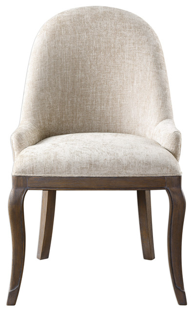 Elegant Curved Back Neutral Tone Side Chair, Retro Vintage Style Sculpted