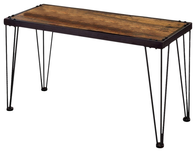 Industrial Side Table Black Metal Frame Triple Bar Legs