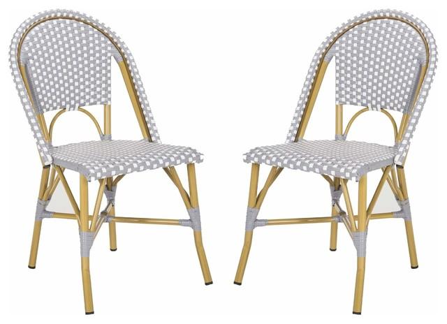 Safavieh Salcha Indoor-Outdoor French Bistro Stacking Side Chair, Set Of 2.
