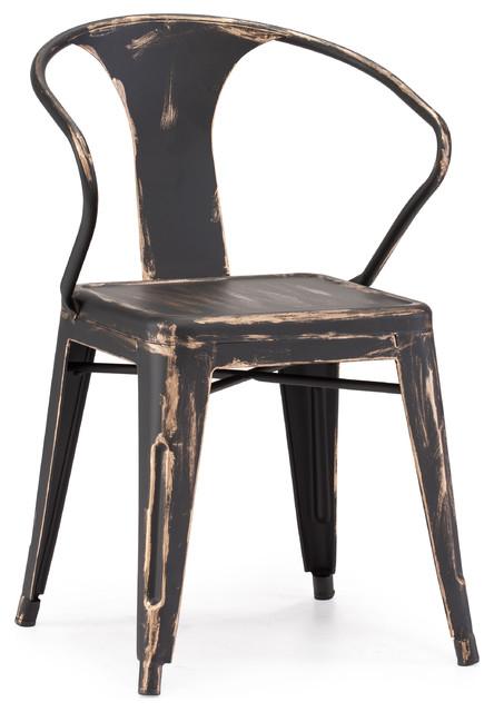 Helix Chair Antique Black Gold, Set Of 2