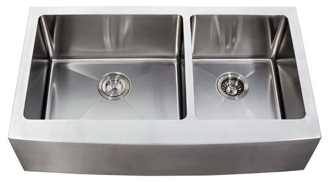 """36"""" Stainless Steel Curved Front Farm Apron 60/40 Double Bowl Kitchen Sink"""