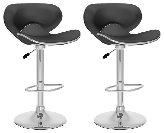 Miraculous Curved Form Fitting Adjustable Bar Stool Black Leatherette Set Of 2 Lamtechconsult Wood Chair Design Ideas Lamtechconsultcom