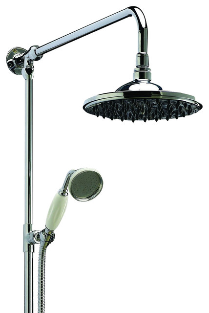 Grand Rigid Riser With Showerhead, Chrome  Contemporary Showerheads And Body Sprays