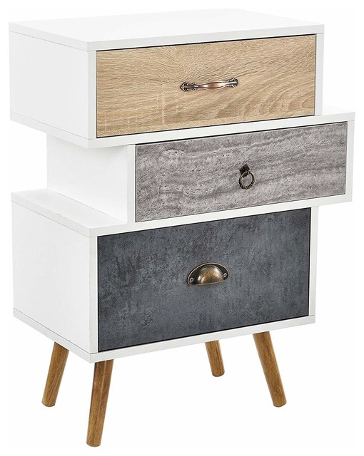 Contemporary Sideboard In White Oak Finished Wood With Steel Legs And 3 Drawers