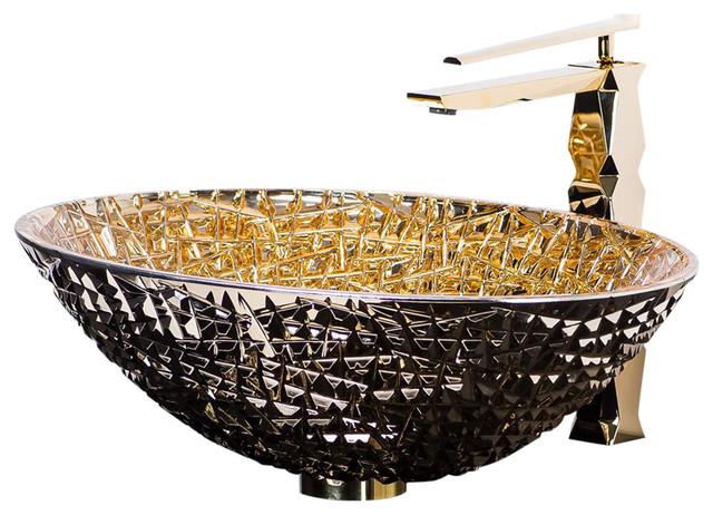De Medici Ice Vessel Sink 24 Karat Crystal Contemporary Bathroom Sinks By Maestrobath