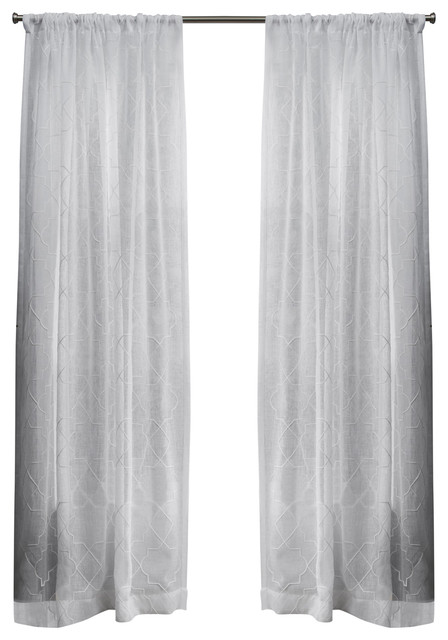 "Cali Sheer Window Curtain With Rod Pocket, Set Of 2, Winter White, 50""x108""."