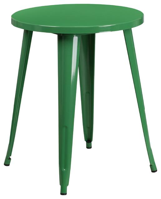 """24"""" Round Green Metal Indoor-Outdoor Table"""