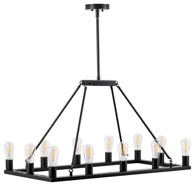 Sonoro Large Industrial Rectangular Chandelier, Black
