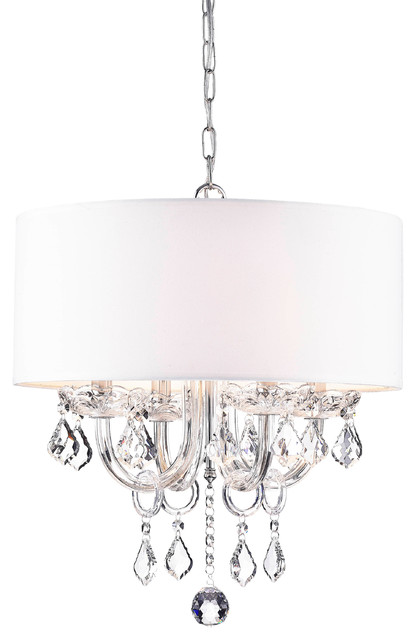 Anona 4-Light White Drum Chandelier.
