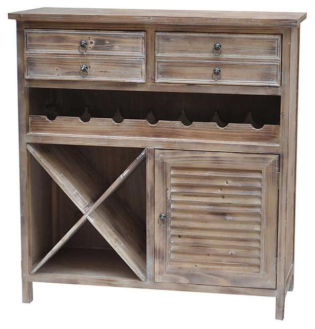 Jackson 2-Drawer Weathered Oak Wine Cabinet - Farmhouse - Wine And ...
