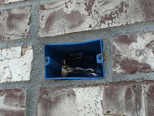 Blue Pvc Box In Exterior Brick What Wall Mount Weight Can It Support