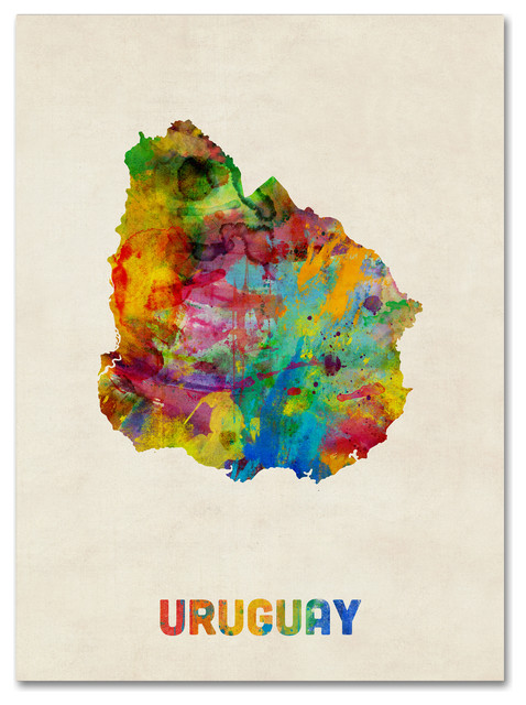 Uruguay watercolor map canvas art by michael tompsett traditional uruguay watercolor map canvas art by michael tompsett gumiabroncs