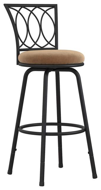 Upholstered Seat Swivel, Tan Microfiber, Set of 3 Bar stool