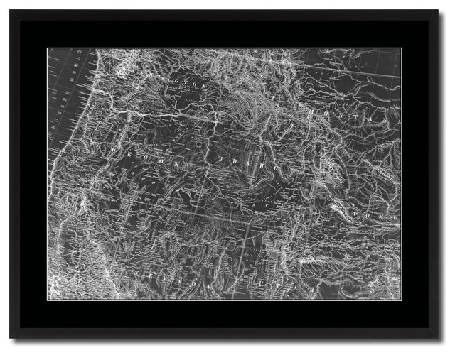 "Us Pacific Northwest Monochrome Map Print On Canvas With Black Frame, 28"" X 37""."