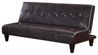 Espresso Bicast Leather Adjustable Sofa Futon Sleeper Bed