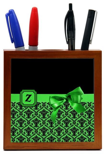Letter Z Monogram Damask Bow Wood Tile Pen Holder