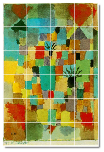 Paul klee abstract painting ceramic tile mural 35 for Ceramic mural painting