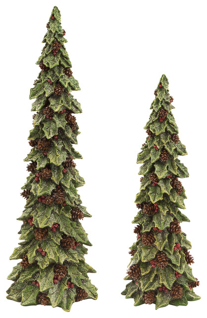 Holly Trees With Pinecone Detail, Set Of 2.