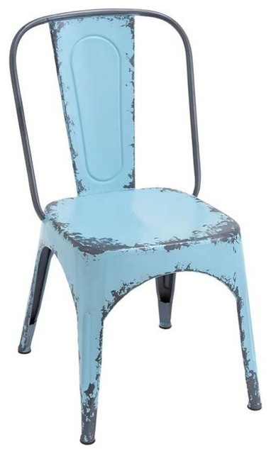 Distressed Metal Chair, Blue