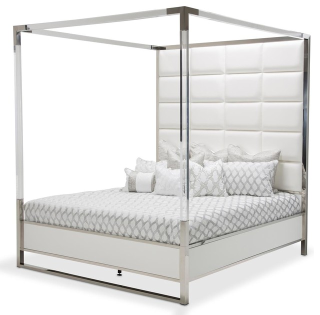 Aico State St Queen Metal Canopy Bed In Glossy White 9016000qn4-116.