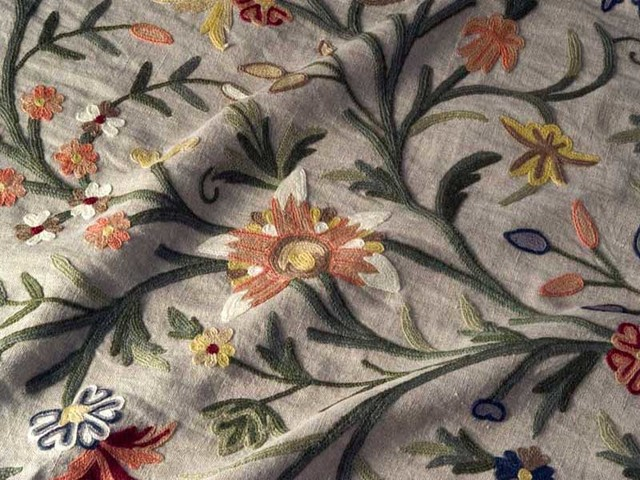 Crewel Fabric Tree Of Life Multicolor On Natural Brown Club Line