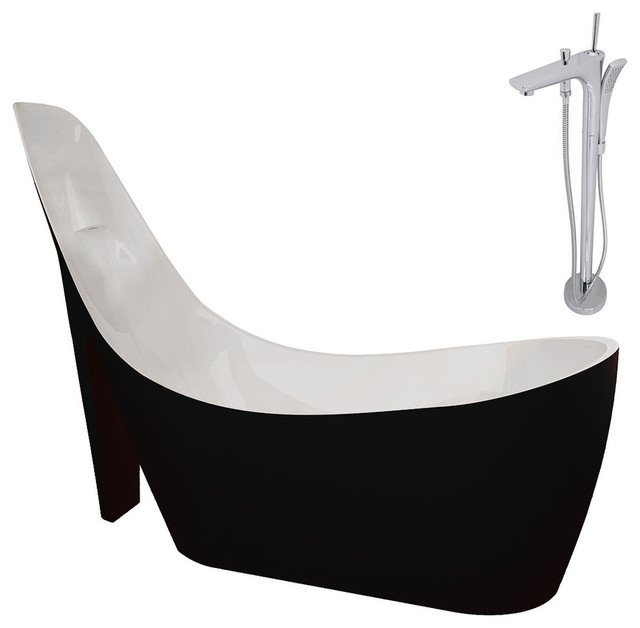 Gala 6.7&x27; Acrylic Non-Whirlpool Bathtub, Glossy Black And Kase Faucet, Chrome.