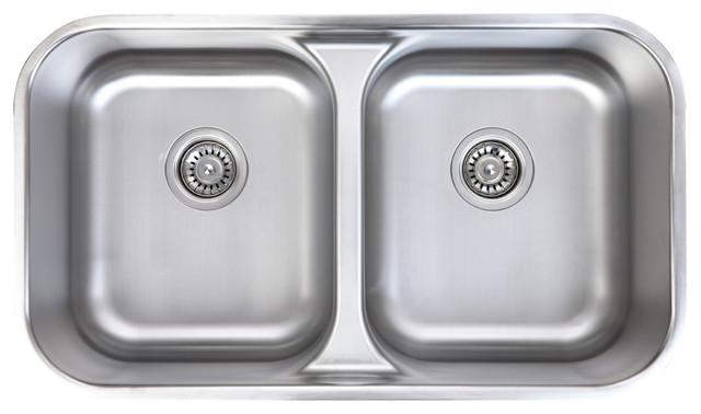 Waterloo 18 Gauge Stainless Steel Undermount 50 50 Low Divide Dual Bowl Sink Modern Kitchen Sinks By Chemcore Industries
