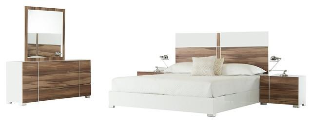 Nova Domus Giovanna Italian White and Cherry Bedroom Set ...
