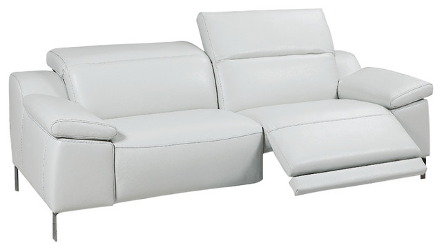 Sofia Electric Motion Sofa, Manual Adjustable Neck Rest Cushions, White