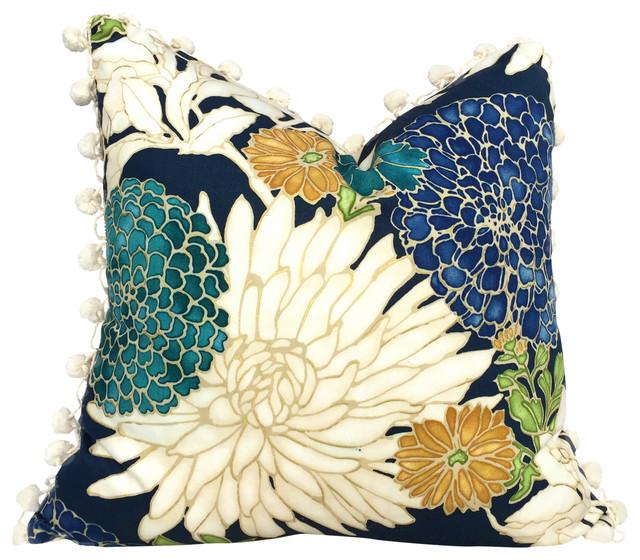 Asian Floral Pillow Cover With Cream Pompom Trim Contemporary