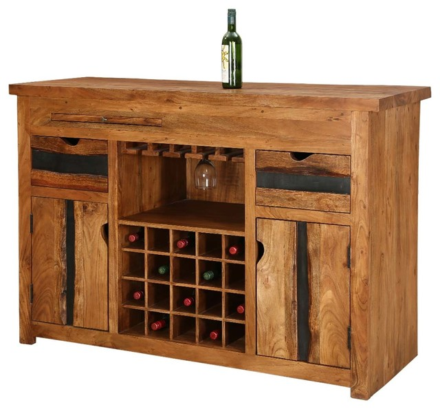 Modern Pioneer Acacia Wood 60  Wine Bar Entertainment Cabinet  sc 1 st  Houzz & Modern Pioneer Acacia Wood 60