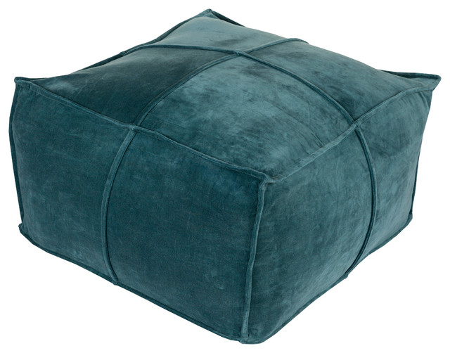 Cotton Velvet Cube Pouf, Teal.